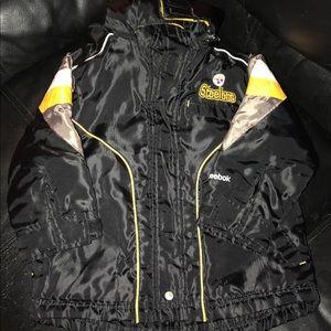 Zip On Hooded Steelers Jacket By Reebok • 3T